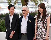 Actors Ryo Kase and Tadashi Okuno, Actress, Rin Takanashi, at the Like Someone In Love film photocall at the 65th Cannes Film Festival France. Monday 21st May 2012 in Cannes Film Festival, France.