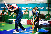 Arshad Mughal (England) clean bowled, vs New Zealand.<br /> 2003 Indoor Cricket World Masters Championships, Christchurch, New Zealand