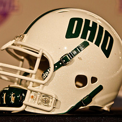 December 18, 2010; New Orleans, LA, USA; A Ohio Bobcats helmet on display prior to a game against the Troy Trojans in the 2010 New Orleans Bowl at the Louisiana Superdome.  Mandatory Credit: Derick E. Hingle