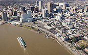Aerial view of downtown, French Quarter, and Mississippi River; New Orleans, Louisiana
