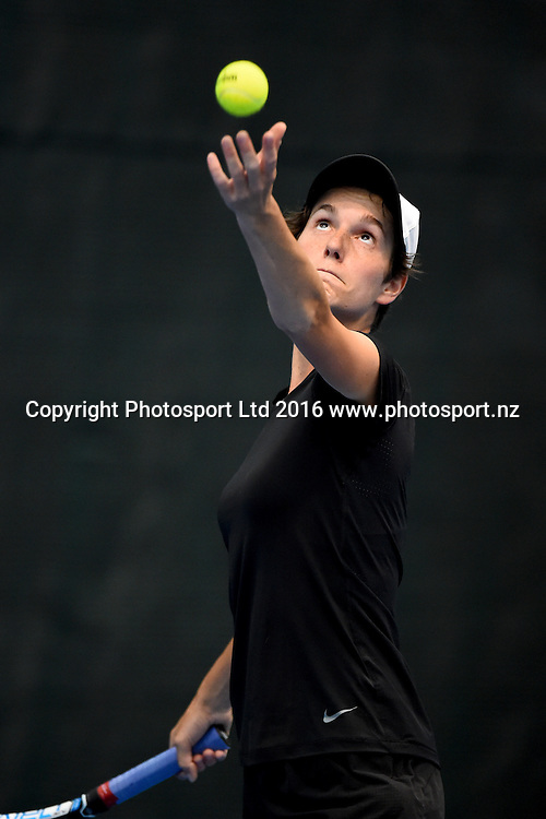 Joanna Carswell of New Zealand during her qualifying match at the 2016 ASB Classic. ASB Tennis Centre, Auckland, New Zealand. Saturday 2 January 2016. Copyright Photo: Chris Symes / www.photosport.nz