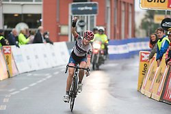 Nicole Hanselmann (SUI) of Cervélo-Bigla Cycling Team celebrates winning the 76,1 km first stage of the 2016 Ladies' Tour of Norway women's road cycling race on August 12, 2016 between Halden and Fredrikstad, Norway. (Photo by Balint Hamvas/Velofocus)