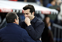 January 24, 2019 - Madrid, Madrid, Spain - Santiago Hernan Solari(Real Madrid) seen saluting Eusebio Sacristan (Girona FC) before the Copa del Rey Round of quarter-final first leg match between Real Madrid CF and Girona FC at the Santiago Bernabeu Stadium in Madrid, Spain. (Credit Image: © Manu Reino/SOPA Images via ZUMA Wire)