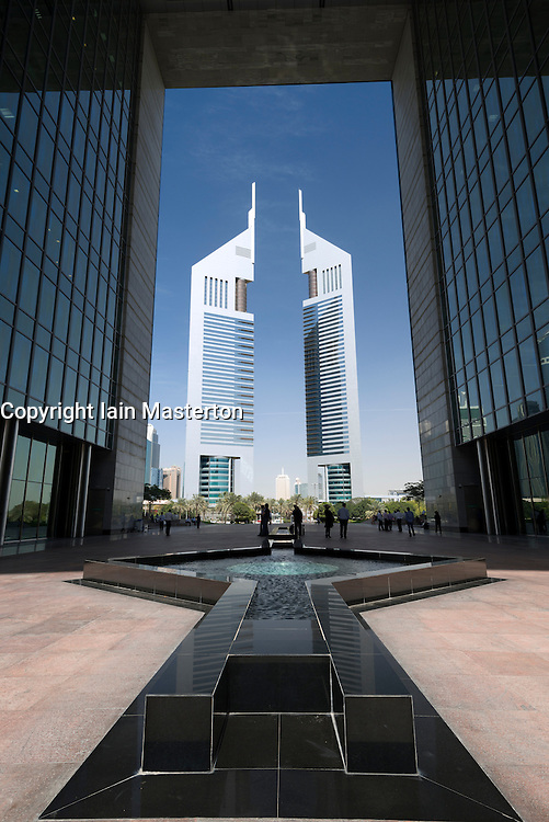Emirates Towers seen from The Gate building in DIFC or Dubai International Financial Center in Dubai United Arab Emirates UAE Middle East