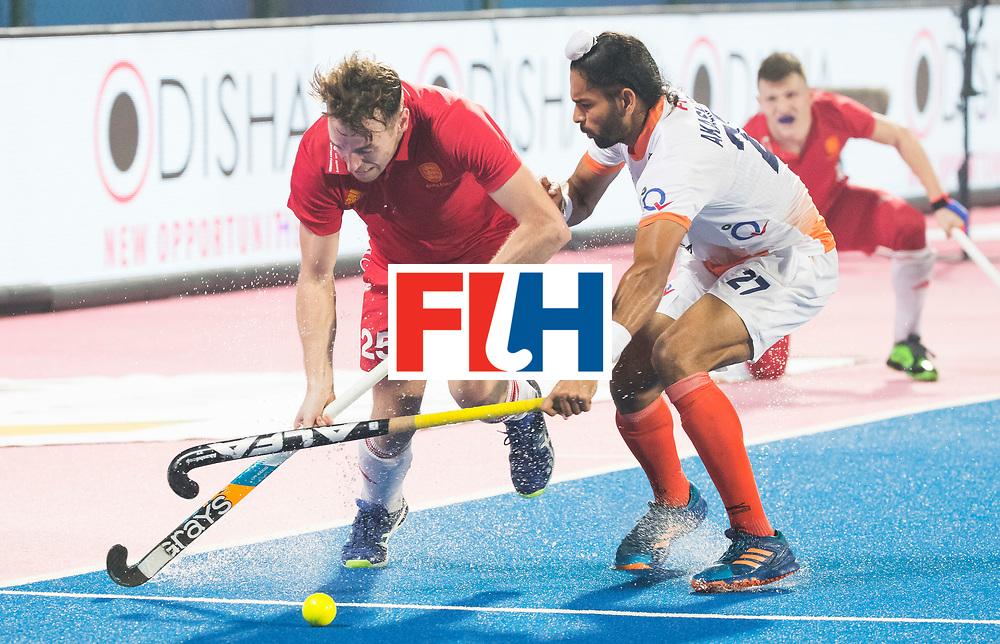 BHUBANESWAR - The Odisha Men's Hockey World League Final . Match ID 06 . India v England (2-3).  Chris Griffiths (Eng) with Akashdeep Singh (Ind)     WORLDSPORTPICS COPYRIGHT  KOEN SUYK