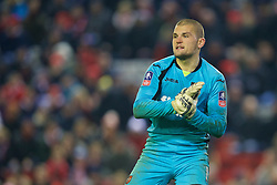 LIVERPOOL, ENGLAND - Wednesday, January 20, 2016: Exeter City's goalkeeper Bobby Olejnik in action against Liverpool during the FA Cup 3rd Round Replay match at Anfield. (Pic by David Rawcliffe/Propaganda)