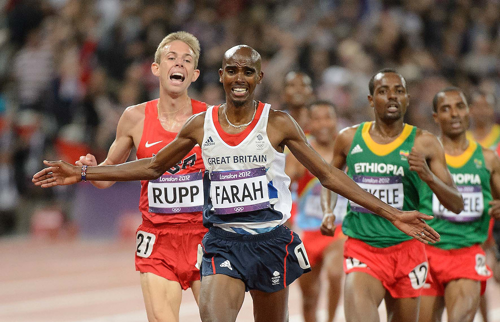 Athletics- Day 8: Mo Farah (Britain) winning the 10,000 metre race at the Olympic Stadium, during the 2012 London Olympic Games.
