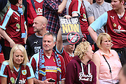 Burnley fan supporting the Charlton protest during the Sky Bet Championship match between Charlton Athletic and Burnley at The Valley, London, England on 7 May 2016. Photo by Matthew Redman.