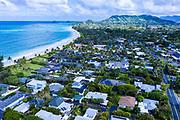 Aerial photograph of homes on Kailua beach, Oahu, Hawaii