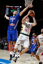 13.09.2014, City Arena, Madrid, ESP, FIBA WM, Frankreich und Litauen, Entscheidungsspiel zwischen Platz 3 und 4, im Bild France´s Lauvergne (L) and Lithuania´s Jankunas // during FIBA Basketball World Cup Spain 2014 playoff match place 3 and 4 between France and Lithuania at the City Arena in Madrid, Spain on 2014/09/13. EXPA Pictures © 2014, PhotoCredit: EXPA/ Alterphotos/ Victor Blanco<br /> <br /> *****ATTENTION - OUT of ESP, SUI*****