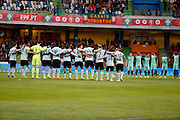 Victims homage team Belgium  pictured during the FIFA international friendly match between Portugal and Belgium as part of the preparation of the Belgian national soccer team prior to the UEFA EURO 2016  in Leiria, Portugal. minute de silence hommage aux victimes des attentats