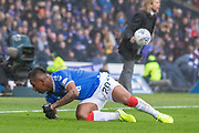 Alfredo Morelos of Rangers FC gets to his feet during the Betfred Scottish League Cup semi-final match between Rangers and Heart of Midlothian at Hampden Park, Glasgow, United Kingdom on 3 November 2019.