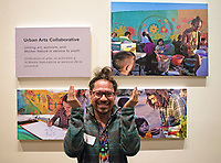 Juan Carlos Gonzalez of Urban Arts Collaborative at the December 5th, 2017 opening of the Stories from Salinas exhibition at the CSUMB Salinas Center for Arts and Culture in Oldtown. The exhibition celebrates the mentors, youth and families of the Salinas Youth Initiative.