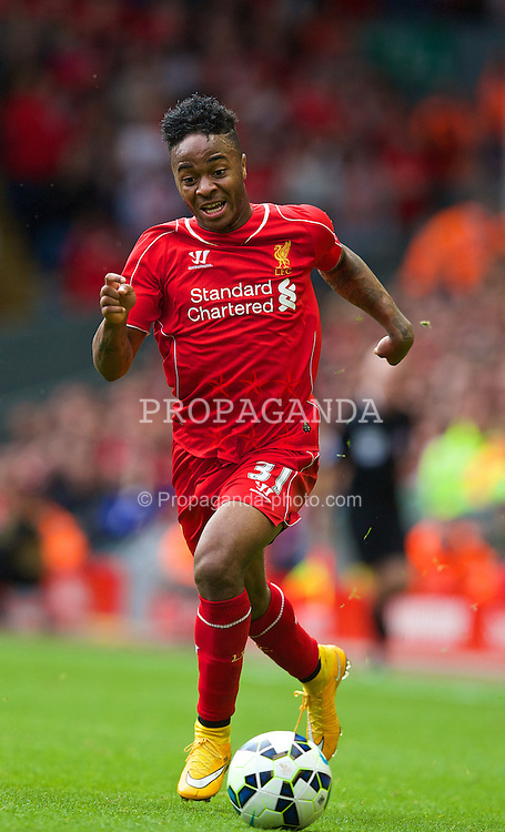 LIVERPOOL, ENGLAND - Saturday, September 27, 2014: Liverpool's Raheem Sterling in action against Everton during the Premier League match at Anfield. (Pic by David Rawcliffe/Propaganda)