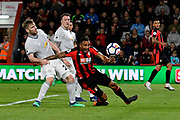 Callum Wilson (13) of AFC Bournemouth goes down in the penalty area after being challenged by Luke Shaw (23) of Manchester United during the Premier League match between Bournemouth and Manchester United at the Vitality Stadium, Bournemouth, England on 18 April 2018. Picture by Graham Hunt.