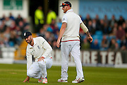 England & Hampshire Batsman James Vince  shows his disappointment at not holding on to a chance during day 2 of the first Investec Test Series 2016 match between England and Sri Lanka at Headingley Stadium, Headingley, United Kingdom on 20 May 2016. Photo by Simon Davies.