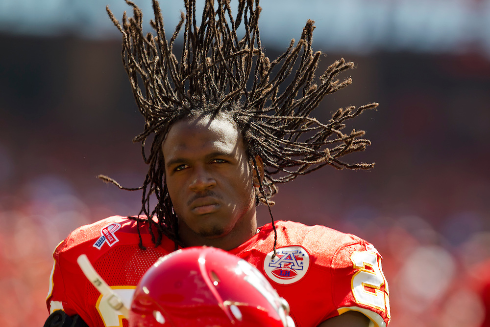 Kansas City Chiefs running back Jamaal Charles let his dreadlocks fly prior to the game against the Buffalo Bills on Sunday, September 11, 2011, at Arrowhead Stadium in Kansas City, Mo.