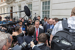 Smith Square, Westminster, London, June 7th 2016. UKIP Leader Nigel Farage launches a new campaign poster today outside Europe House ahead of a scheduled ITV Debate with the Prime Minister David Cameron. PICTURED: Nigel Farage addresses the media.