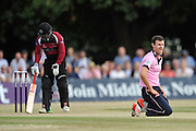 James Harris goes close to a caught and bowled during the NatWest T20 Blast South Group match between Middlesex County Cricket Club and Somerset County Cricket Club at Uxbridge Cricket Ground, Uxbridge, United Kingdom on 26 June 2015. Photo by David Vokes.