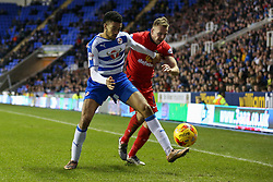 Nick Blackman of Reading holds back Jordan Rhodes of Blackburn Rovers - Mandatory byline: Jason Brown/JMP - 07966 386802 - 20/12/2015- FOOTBALL - Madejski Stadium - Reading, England - Reading v Blackburn Rovers - Sky Bet Championship