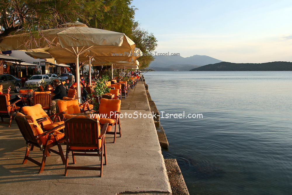 Greece, Thessaly, Agia Kiriaki, a little fishing village at the south west point of the peninsula Pelion A water front cafe