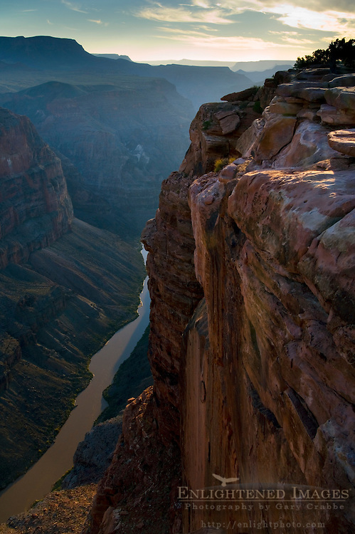 Steep rugged cliffs above the Colorado River at Toroweap, Grand Canyon National Park, Arizona