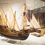 A model of a Square-Rgged Caravel from the early 16th century. The Museu de Marinha (Maritime Museum of Navy Museum) focuses on Portuguese maritime history. It features exhibits on Portugal's Age of Discovery, the Portuguese Navy, commercial and recreational shipping, and, in a large annex, barges and seaplanes. Located in the Belem neighborhood of Lisbon, it occupies, in part, one wing of the Jerónimos Monastery. Its entrance is through a chapel that Henry the Navigator had built as the place where departing voyagers took mass before setting sail. The museum has occupied its present space since 1963.