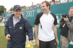 Liverpool, England - Tuesday, June 12, 2007: Greg Rusedski and Tournament Director Anders Borg on day one of the Liverpool International Tennis Tournament at Calderstones Park. For more information visit www.liverpooltennis.co.uk. (Pic by David Rawcliffe/Propaganda)