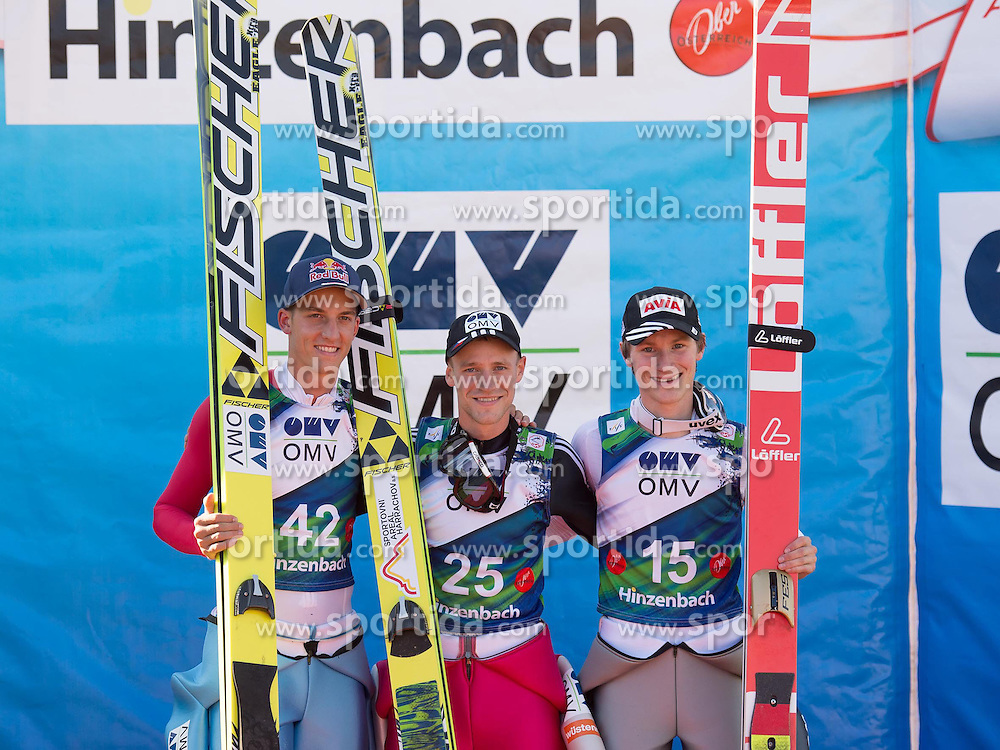 28.09.2014, Energie AG Skisprung Arena, Hinzenbach, AUT, FIS Ski Sprung, Sommer Grand Prix, Hinzenbach, im Bild v.l. Gregor Schlierenzauer (AUT) second place, Roman Kudelka (CZE) the winner and Marinus Kraus (GER) third place, during FIS Ski Jumping Summer Grand Prix at the Energie AG Skisprung Arena, Hinzenbach, Austria on 2014/09/28. EXPA Pictures © 2014, PhotoCredit: EXPA/ Reinhard Eisenbauer