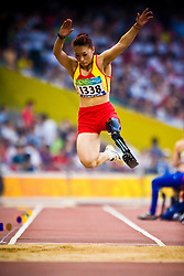 "ZHANG Haiyuan of China competes in the women's F42 Long Jump during the Beijing 2008 Paralympic Games; National ""Bird's Nest"" Stadium, Beijing Olympic Green, China, 8th September 2008;"