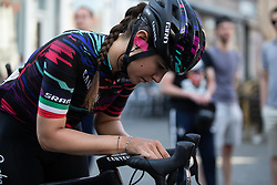 Elena Cecchini (ITA) of CANYON//SRAM Racing prepares for the Amstel Gold Race - Ladies Edition - a 126.8 km road race, between Maastricht and Valkenburg on April 21, 2019, in Limburg, Netherlands. (Photo by Balint Hamvas/Velofocus.com)