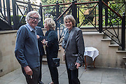 ALEXANDER CHANCELLOR; EMMA SOAMES, David Campbell Publisher of Everyman's Library and Champagen Bollinger celebrate the completion of the Everyman Wodehouse in 99 volumes and the 2015 Bollinger Everyman Wodehouse prize shortlist. The Archive Room, The Goring Hotel. London. 20 April 2015.