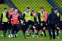 Anton Zlogar, Zlatan Ljubijankic at practice of Slovenian team a day before FIFA World Cup 2010 Qualifying match between Russia and Slovenia, on November 13, 2009, in Stadium Luzhniki, Moscow, Russia.  (Photo by Vid Ponikvar / Sportida)