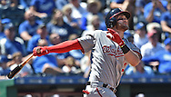 Washington Nationals right fielder Bryce Harper (34) hits a solo home run against the Kansas City Royals during the fifth inning at Kauffman Stadium.