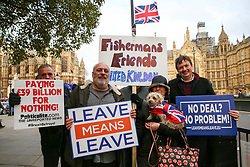 © Licensed to London News Pictures. 09/01/2019. London, UK. Pro-Brexit demonstrators with a dog wrapped in a Union Jack flag protest outside the Houses of Parliament on the first day of the Meaningful Vote debate. At the end of the five day debate the MPs will vote on Prime Minister, Theresa May's Brexit deal. Photo credit: Dinendra Haria/LNP