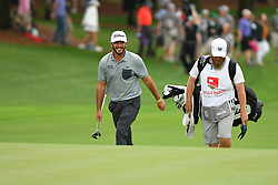 May 5, 2019 - Charlotte, NC, U.S. - CHARLOTTE, NC - MAY 05: Max Homa is all smiles as he walks onto the 18th green to win in the final round of the Wells Fargo Championship on May 05, 2019 at Quail Hollow Club in Charlotte,NC. (Photo by Dannie Walls/Icon Sportswire) (Credit Image: © Dannie Walls/Icon SMI via ZUMA Press)