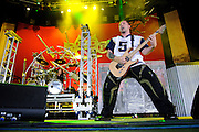 Photos of heavy metal band Five Finger Death Punch performing on Mayhem Fest 2010 at Verizon Wireless Amphitheater in St. Louis on July 20, 2010.