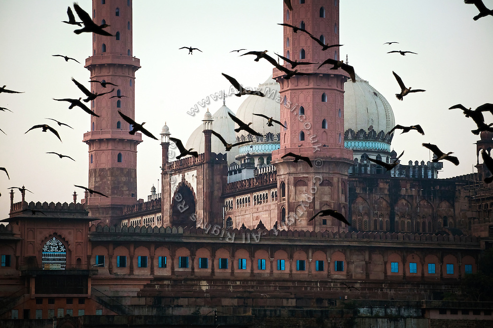 In the early morning, a flock of birds is flying in front of the Taj-ul-Masajid, India's largest mosque, in Bhopal, Madhya Pradesh, India, city of the infamous '1984 Gas Disaster', a tragic event that today continues to consume people's lives.