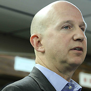 Delaware Gov. Jack Markell response to questions during a candid conversation with Delaware Gov. Jack Markell and Mayor Dennis Williams also members of the east side community Monday, Jan. 05, 2015 in Wilmington, DE.
