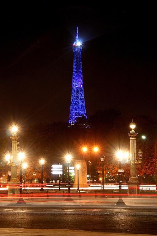 Eiffel Tower in Blue, from the Place de la Concorde,<br /> Paris, France