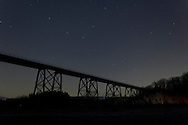 Salisbury Mills, New York - Stars in the night sky above the Moodna Viaduct railroad trestle on Dec. 14, 2012.