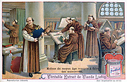 Monks at work on manuscripts in a scriptorium.  Liebig trade card c1900. Chromolithograph