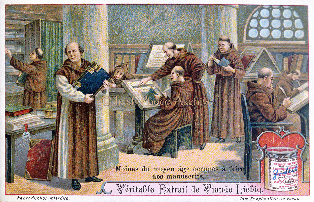 Monks at work on manuscripts in a scriptorium.  Liebig trade card c1900. Chromolithograph