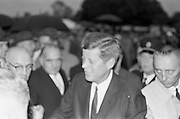 President John F. Kennedy attends a Garden Party at Aras an Uachtarain.  Kennedy meets the people as he is enthusiastically mobbed at the Garden Party..27.06.1963. American President John F. Kennedy visited Ireland.