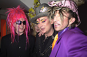 Tony James, Boy George and Martin Degville of Sigue Sigue Sputnic. Wong party. Old  Royal Naval College, Greenwich. 3/2/01. © Copyright Photograph by Dafydd Jones 66 Stockwell Park Rd. London SW9 0DA Tel 020 7733 0108 www.dafjones.com