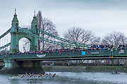 Hammersmith. London. United Kingdom,  Spectators  watching as crews pass under the bridge, 2018 Men's Head of the River Race.  Championship Course, Putney to Mortlake. River Thames, <br /> <br /> Sunday   11/03/2018<br /> <br /> Sunday   11/03/2018<br /> <br /> [Mandatory Credit:Peter SPURRIER Intersport Images]<br /> <br /> Leica Camera AG  M9 Digital Camera  1/250 sec. 50 mm f. 160 ISO.  17.5MB