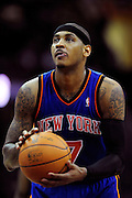 Feb. 25, 2011; Cleveland, OH, USA; New York Knicks small forward Carmelo Anthony (7) shoots a free throw during the second quarter against the Cleveland Cavaliers at Quicken Loans Arena. Mandatory Credit: Jason Miller-US PRESSWIRE
