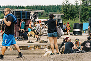 Dogs, ravers & puddle in front of speakers, Halfway Quarry Brecon Wales, May 2017