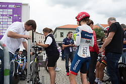 Clara Koppenburg (GER) of Cervélo-Bigla Cycling Team has her bike measured and checked before starting the prologue of the Ladies Tour of Norway - a 3.4 km time trial, starting and finishing in Halden on August 17, 2017, in Ostfold, Norway. (Photo by Balint Hamvas/Velofocus.com)