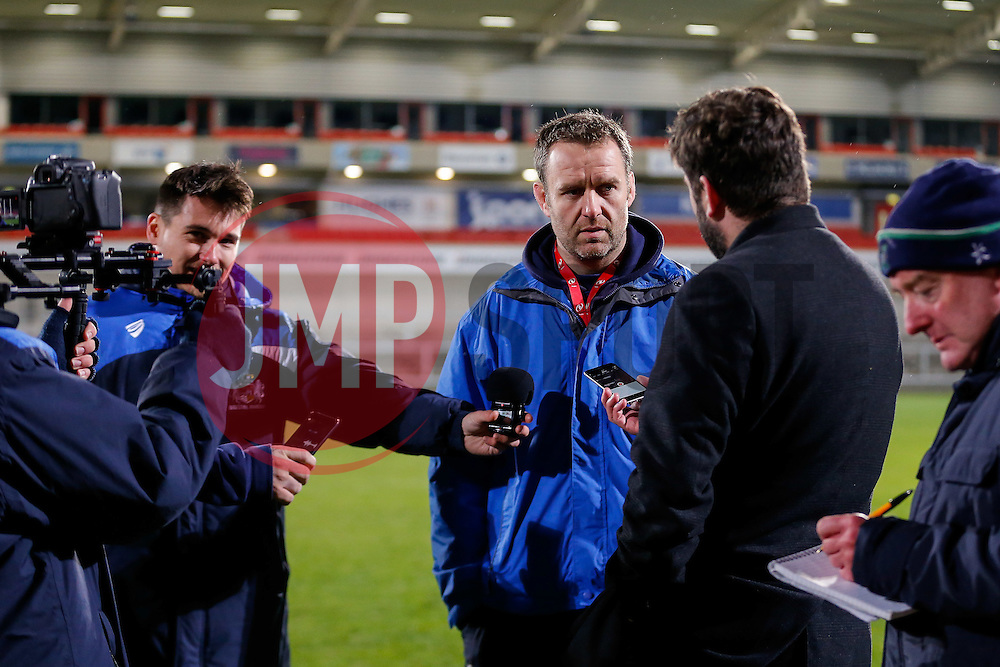 Bristol Rugby Academy Forwards Coach Mark Irish is interviewed post match after Bristol lose 30-5 - Mandatory byline: Rogan Thomson/JMP - 13/11/2015 - RUGBY UNION - Kingspan Stadium - Belfast, Northern Ireland - Ulster Ravens v Bristol Rugby - The British & Irish Cup Pool 2.